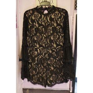 AKIRA Dresses - AKIRA black lace and nude romper